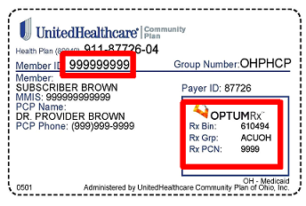 Patient Example of Insurance Card